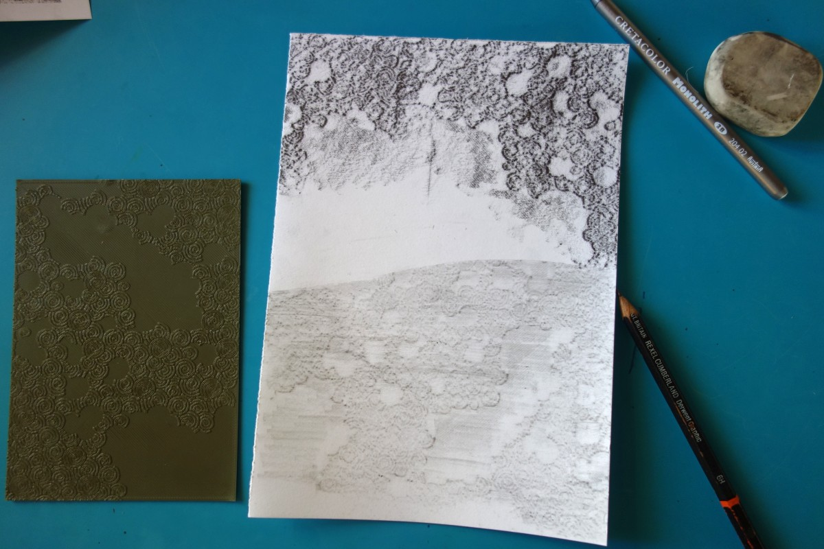 Paysage crayonné sur impression 3D